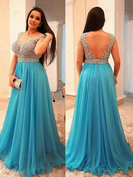 A-Line/Princess V-neck Sleeveless Beading Floor-Length Chiffon Big Size Dresses