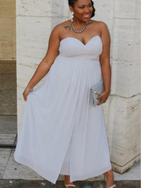 A-Line/Princess Sweetheart Ruched Ankle-Length Chiffon Plus Size Dress