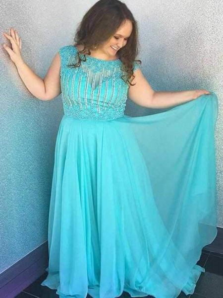 A-Line/Princess Bateau Beading Sweep/Brush Train Chiffon Plus Size Dress