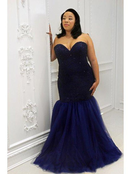 Trumpet/Mermaid Sweetheart Sequin Floor-Length Tulle Plus Size Dress