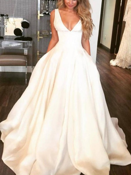 A-Line/Princess Sleeveless V-neck Sweep/Brush Train Ruffles Satin Wedding Dresses