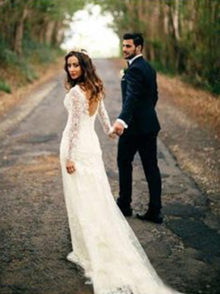 Sheath/Column Long Sleeves V-neck Court Train Applique Lace Wedding Dresses