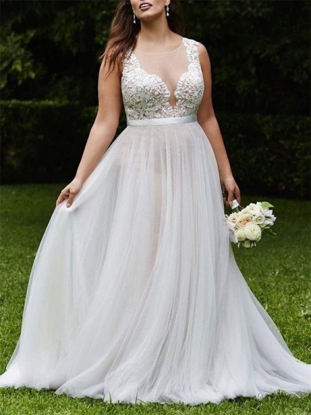 A-Line/Princess Scoop Court Train Lace Tulle Sleeveless Wedding Dresses