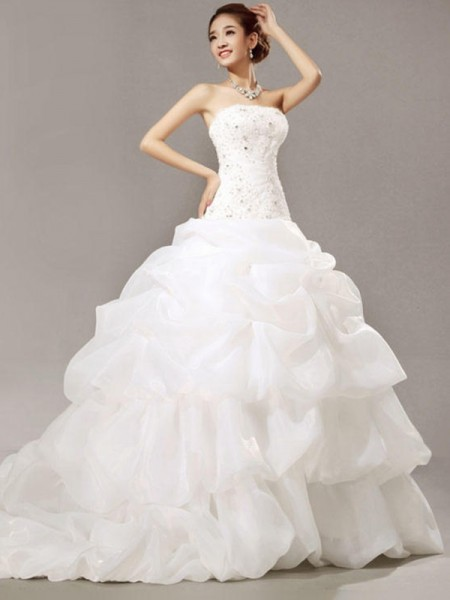 Ball Gown Sleeveless Strapless Cathedral Train Beading Lace Pleats Organza Wedding Dresses