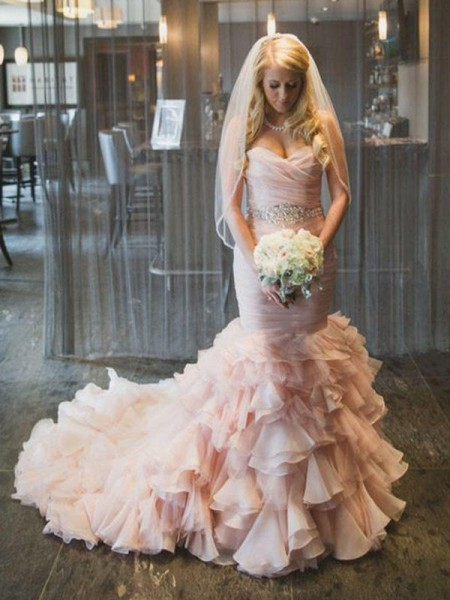 Trumpet/Mermaid Train Sleeveless Sweetheart Court Ruffles Organza Wedding Dresses