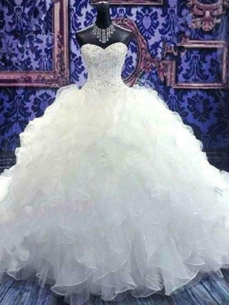 Ball Gown Sleeveless Beading Sweetheart Chapel Train Sequin Organza Wedding Dresses