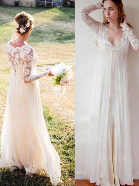 Empire V-neck Lace Chiffon Long Sleeves Floor-Length Wedding Dresses