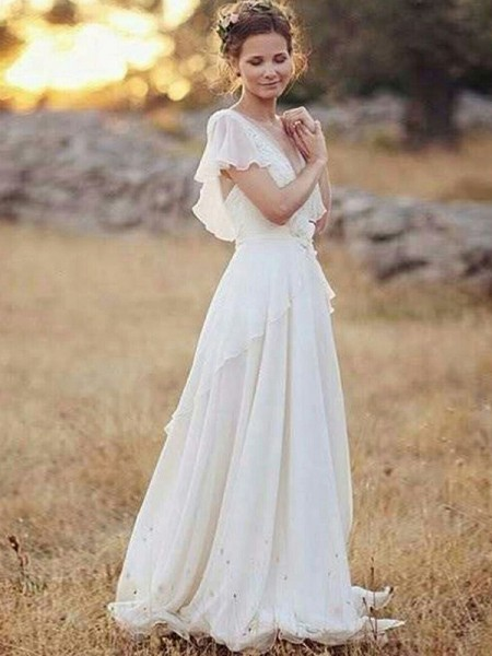 A-Line/Princess Chiffon V-neck Short Sleeves Ruched Floor-Length Wedding Dresses