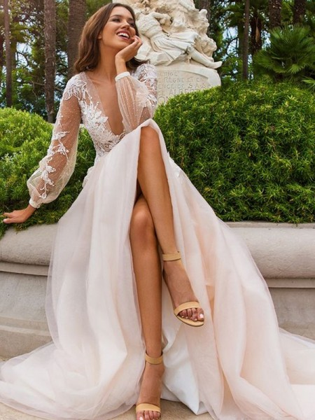 A-Line/Princess Long Sleeves Applique Tulle V-neck Sweep/Brush Train Wedding Dresses