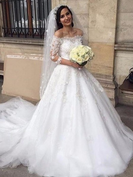 Ball Gown Tulle Off-the-Shoulder Applique 3/4 Sleeves Chapel Train Wedding Dresses