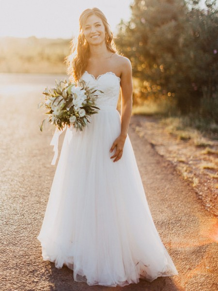 A-Line/Princess Sweetheart Tulle Ruched Sleeveless Floor-Length Wedding Dresses