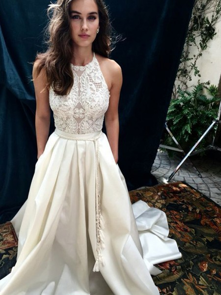 A-Line/Princess Sleeveless Satin Lace Halter Sweep/Brush Train Wedding Dresses