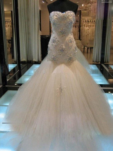 Mermaid Sleeveless Sweetheart Chapel Train Beading Tulle Wedding Gown