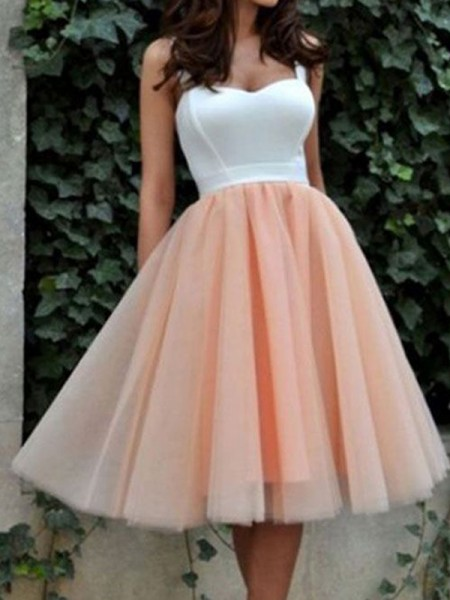 A-Line Sleeveless Sweetheart Tulle Knee-Length Women Dress