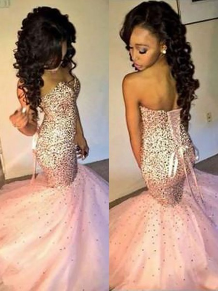 Trumpet/Mermaid Sleeveless Sweetheart Tulle Sequin Floor-Length Prom Gowns