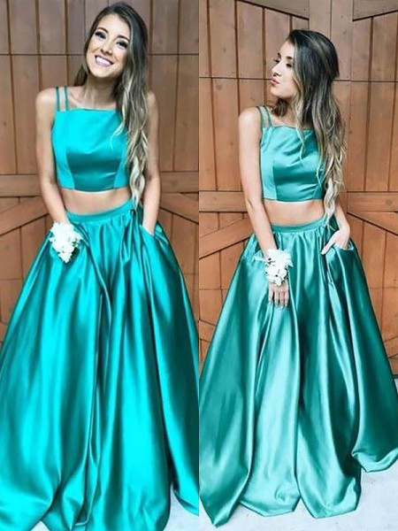 A-Line/Princess Square Floor-Length Ruffles Satin Two Piece Dress