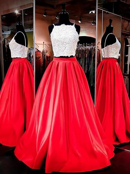 A-Line/Princess Spaghetti Straps Satin Floor-Length Two Piece Dress with Lace