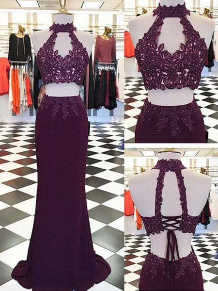 Sheath/Column Halter Applique Floor-Length Chiffon Two Piece Dress