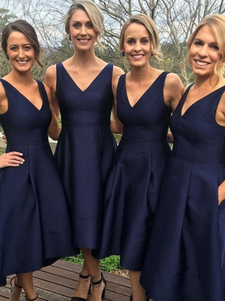 A-Line/Princess V-neck Tea-Length Satin Bridesmaid Dress