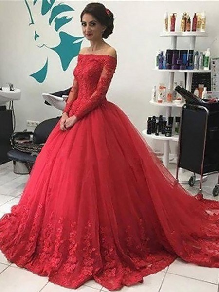 Ball Gown Off-the-Shoulder Long Sleeves Lace Tulle Court Train Dresses For Party