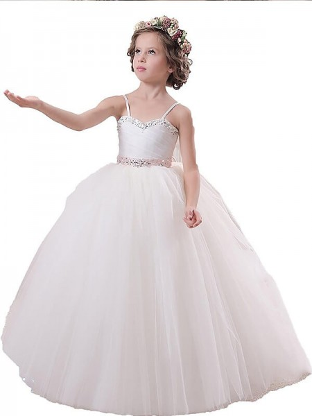 Ball Gown Spaghetti Straps Sash/Ribbon/Belt Floor-Length Tulle Flower Girl Dress