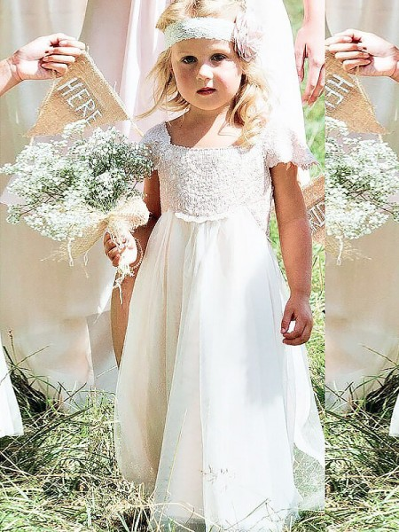 A-line/Princess Square Floor-Length Chiffon Flower Girl Dress with Lace