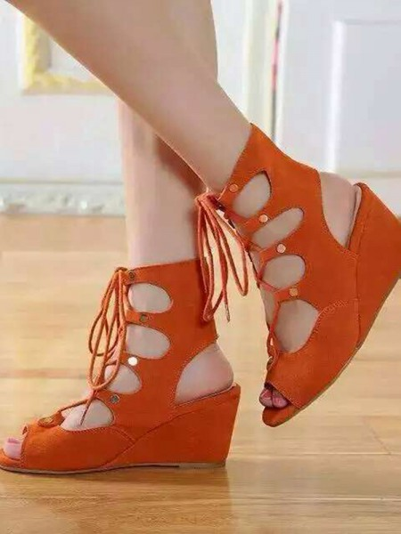 Women's Wedge Heel Suede Peep Toe With Lace-up Sandal Ankle Boots
