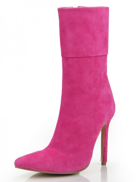 Women's Stiletto Heel Closed Toe Suede With Zipper Mid-Calf Boots