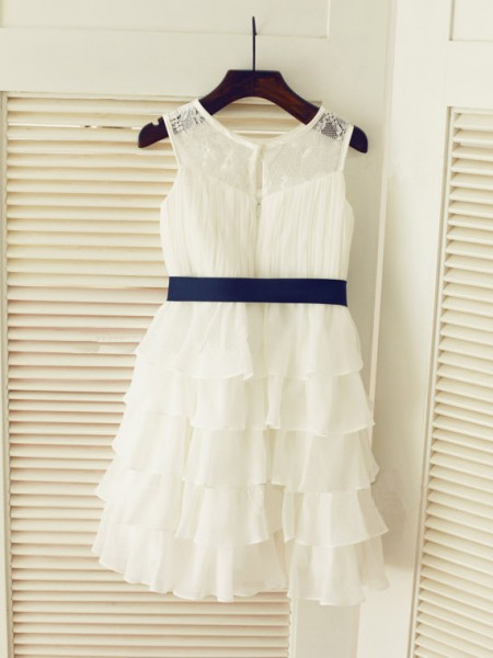 Princess Scoop Sleeveless Ruched Tea-length Chiffon Baby Girl Dress