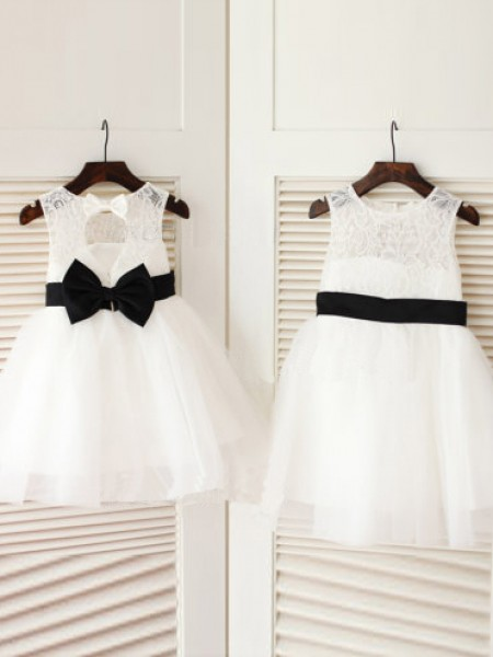 Princess Scoop Sleeveless Bowknot Knee-Length Tulle Girl Dress